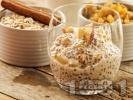 Рецепта Здравословен чия пудинг с ядково мляко, ябълка, орехи, кокосови стърготини, ванилия и канела